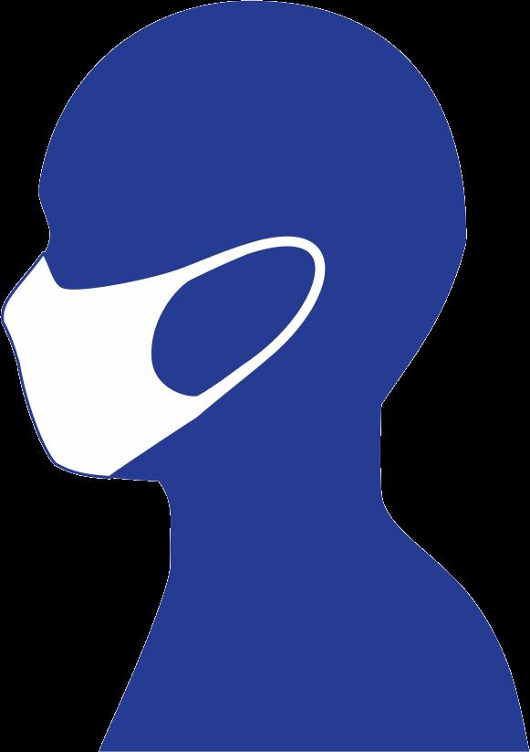 マスクしている横顔のピクトグラム