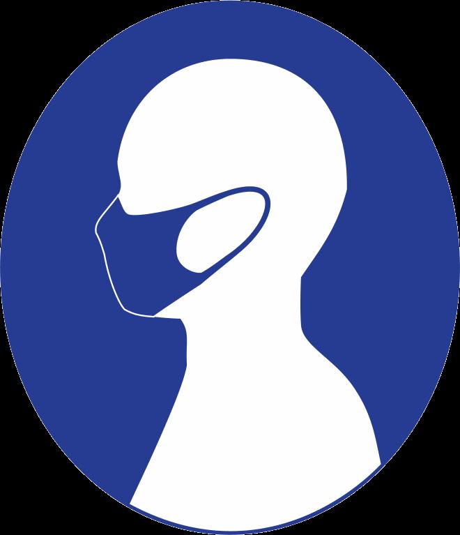 横顔マスクの反転ピクトグラム