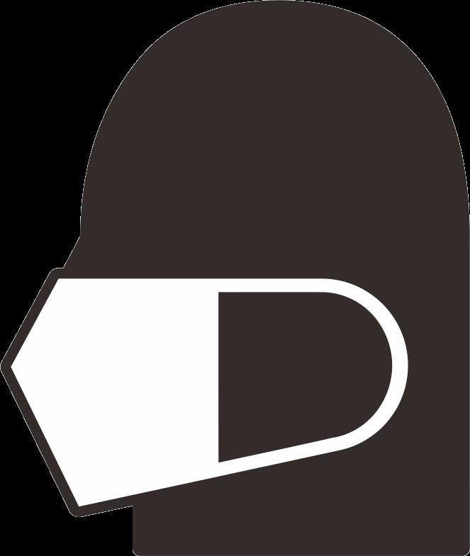 マスクを着用した横顔のシンプルピクトグラム(01)