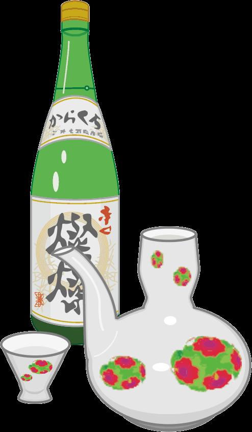 日本酒一升瓶と酒器のイラスト