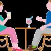 オープンカフェでドリンクを飲みながら談笑している男女のイラスト