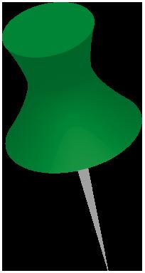 緑色のダルマ画鋲のイラスト画像