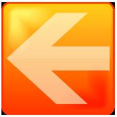 オレンジ色のアクア風矢印アイコン画像