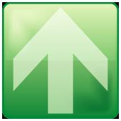 緑色のアクア風矢印アイコン画像
