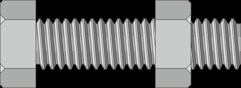 クロームメッキの六角ボルトとナットのイラスト