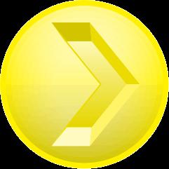 レモン色の彫り込み矢印アイコン画像