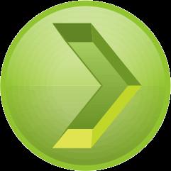 黄緑色の彫り込み矢印アイコン画像