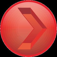 赤色の彫り込み矢印アイコン画像