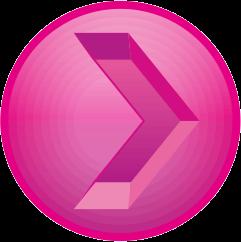 ピンク色の彫り込み矢印アイコン画像