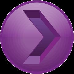 紫色の彫り込み矢印アイコン画像