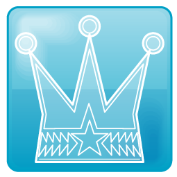 青色ベースの王冠のワンポイントイラスト画像
