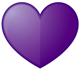 紫色のハート型ワンポイントイラスト画像