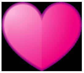 ピンク色のハート型ワンポイントイラスト画像