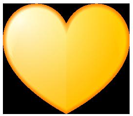 黄色のハート型ワンポイントイラスト画像