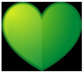緑色のハート型ワンポイントイラスト画像