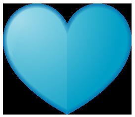青色のハート型ワンポイントイラスト画像