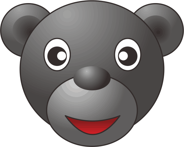 黒いクマのキャラクターイラスト画像