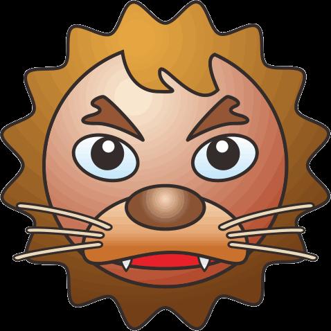 目の大きいライオンのキャラクターイラスト