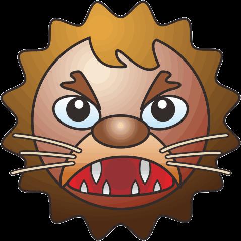 歯をむき出して怒っているライオンのキャラクターイラスト