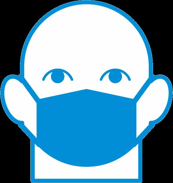 マスク着用推進ピクトグラム正面顔タイプ
