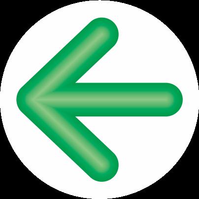 緑色立体矢印アイコン画像