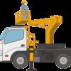 建設作業員が高所作業車を操作しているイラスト