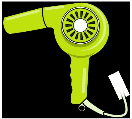 緑色のヘアドライヤーのイラスト