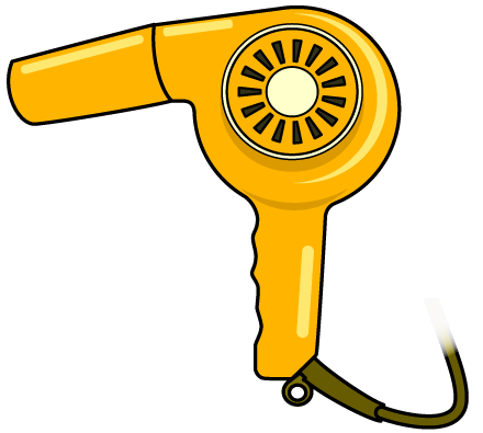 黄色いヘアドライヤーのイラスト