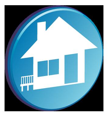 家が描かれているバッチのワンポイントイラスト画像