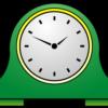シンプルな緑色の置時計のワンポイントイラスト