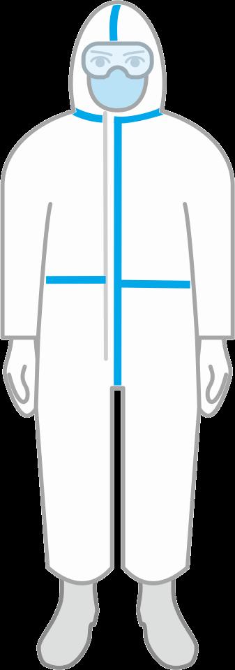 ウィルス防護服を着た看護師のイラスト