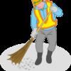 道路工事作業員が工事現場を清掃しているイラスト