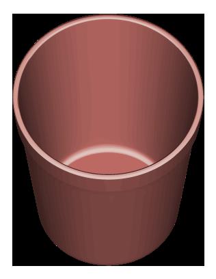 赤系色の円筒形ゴミ入れのイラスト