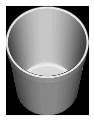 グレー色の円筒形ゴミ入れのイラスト