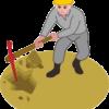 ツルハシで穴を掘っている作業員のイラスト