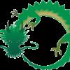 円を描いて舞っている緑色の龍のイラスト