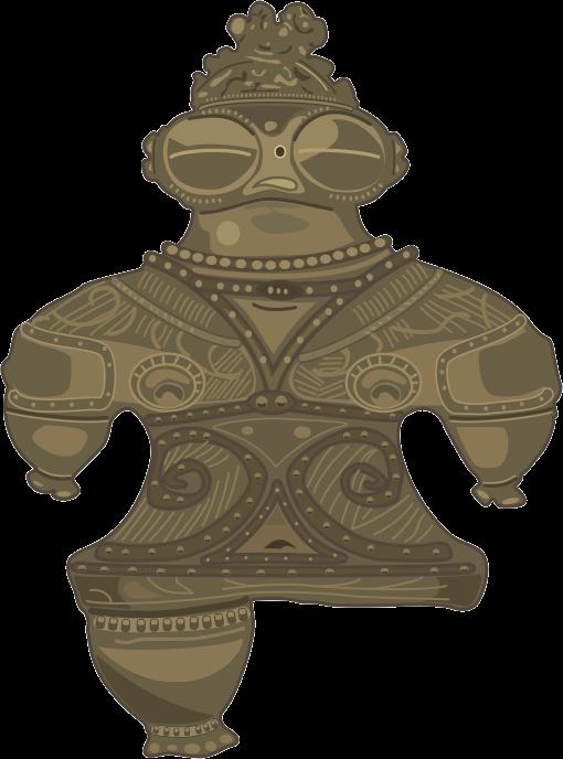 亀ヶ岡遺跡から発掘された遮光器土偶のイラスト