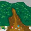 麓の住宅を襲った土石流のイラスト
