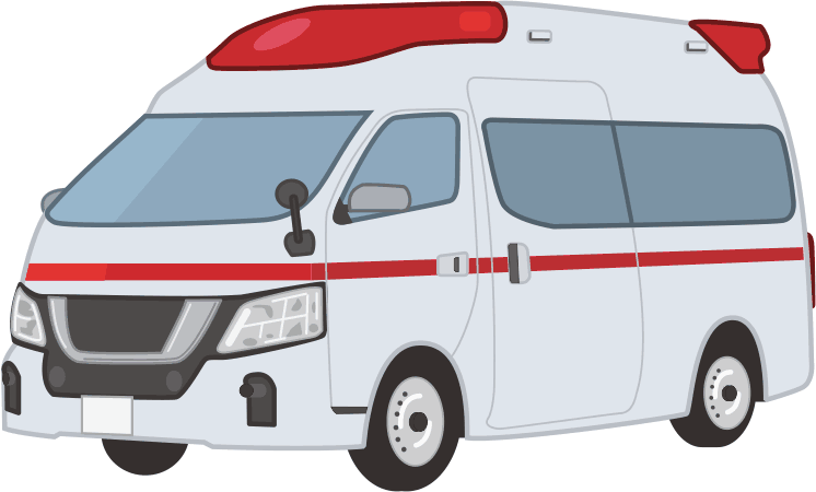 迅速な搬送が要求される救急車のイラスト