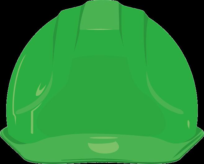 緑色の安全ヘルメットのイラスト