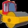土壌やアスファルトの押し固めに使用されるロードローラーのイラスト