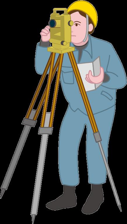 建設現場の土地を計測している測量士のイラスト