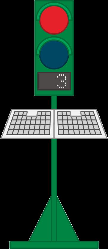 道路工事に不可欠なソーラー信号機のイラスト