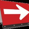 ドライバーを誘導する路上の矢印看板(右向き)のイラスト