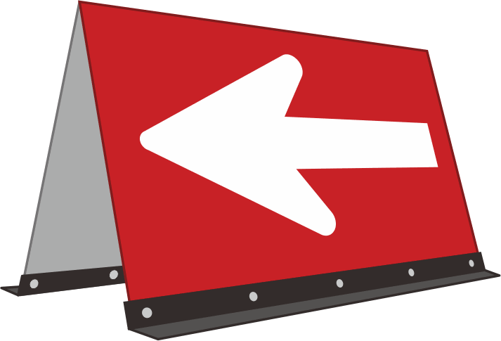 ドライバーを誘導する路上の矢印看板(左向き)のイラスト