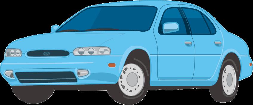 水色のセダン型乗用車のイラスト