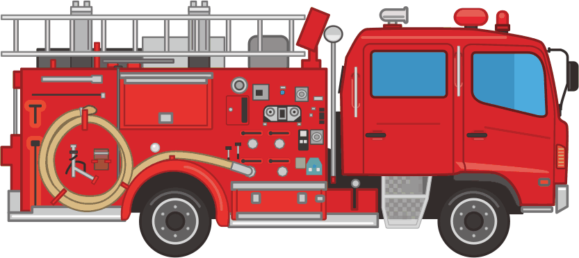 火災現場や災害現場に駆け付ける消防車のイラスト