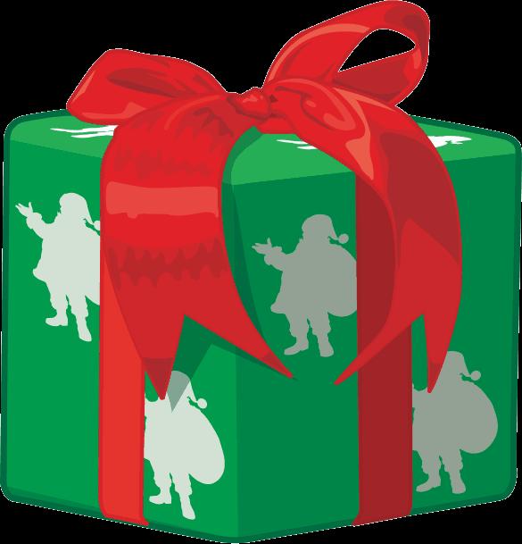 赤いリボンとサンタ柄の包装紙で包まれたクリスマスプレゼントのイラスト