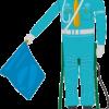 道路工事現場でよく見かける旗振り機械人形のイラスト