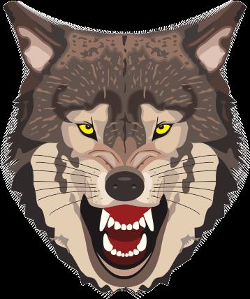 怒っているオオカミの顔のイラスト